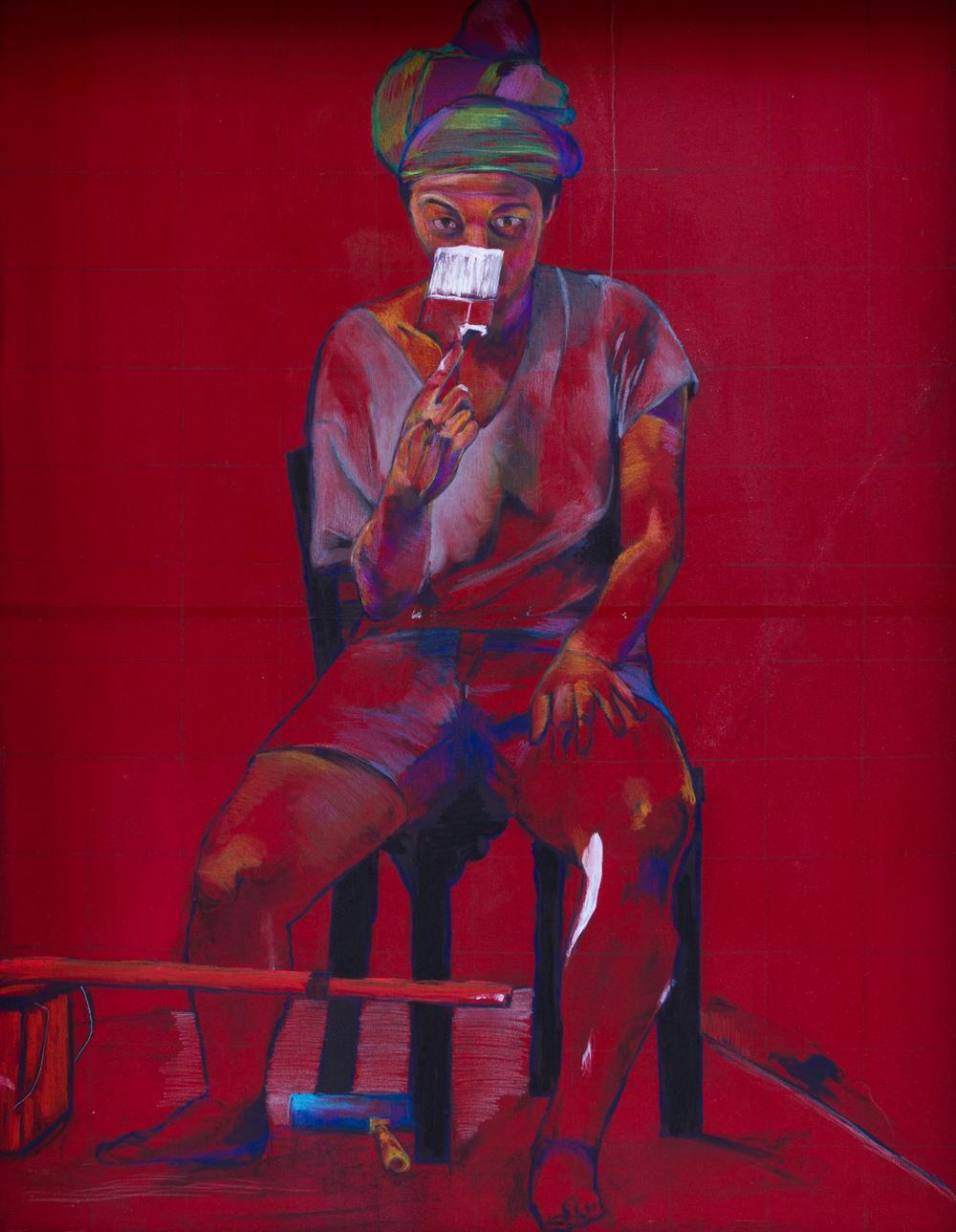 100 x 130 cm  Acrílico y lápices sobre madera.  2013