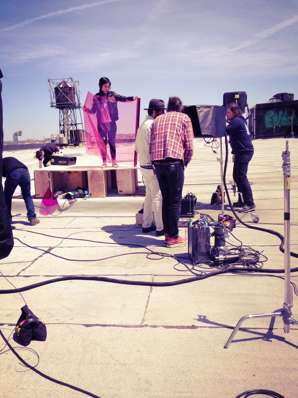 Alexei Hay and his team setting up on the roof!