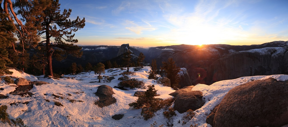 Sunset from Clouds Rest, overlooking Half Dome in Yosemite National Park.