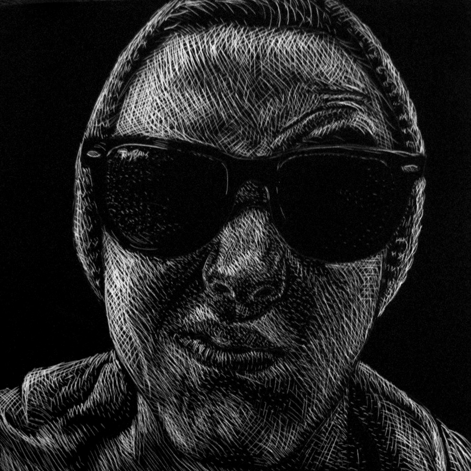 SCRATCHBOARD PORTRAITS   A series of scratchboards depicted different expressive faces.