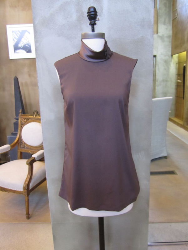 Brunello Cucinelli Silk Tank with Hand Knit Applique.  Made in Italy.  Available in Medium, Large, X-Large.  Originally $895, now $358.