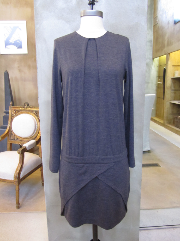 Brunello Cucinelli Long Sleeve Wool Jersey Dress with Tux Back detail in Beaver.  Made in Italy.  Originally $1745, now $698.  Available in Medium, Large and X-Large.