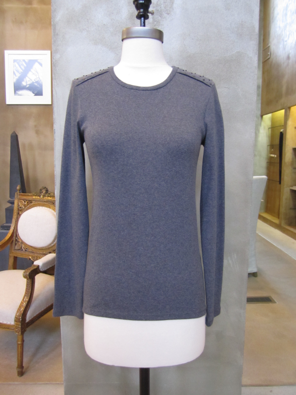Brunello Cucinelli Cotton Rib Crew Neck with Stud Detail at Shoulder.  Made in Italy.  Originally $585, now $234.  Available in Charcoal (as shown) in X-Large, and Vanilla in Medium, Large and X-Large.