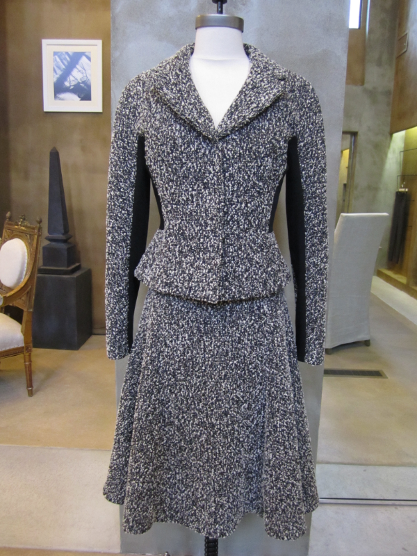 Liday Baday Black and White Boucle Contrast Suit Jacket and Skirt.  Made in Canada.  Jacket originally $1395, now $698, Skirt originally $895, now $448.  Available in size 6.