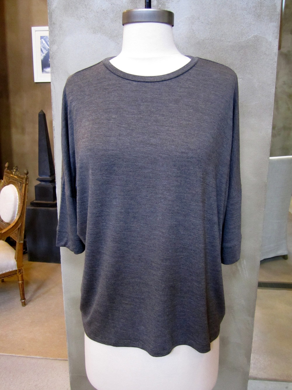 Wear with Organic by John Patrick Spring 2014 Heathered Grey Tee.  $85.  Available in Small and Medium.