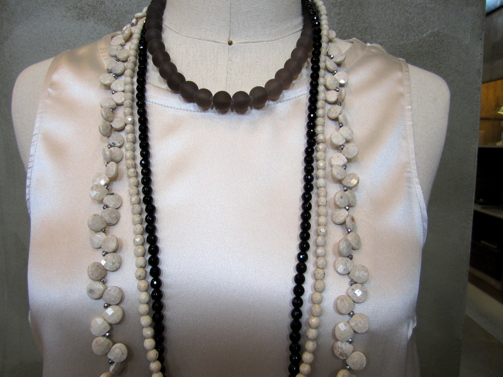 Silk Top and Necklace Detail.