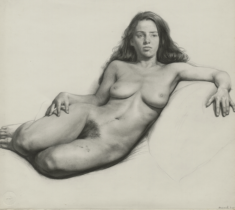 Julie, 2008, graphite and charcoal on paper, 13 x 14 1/2 inches