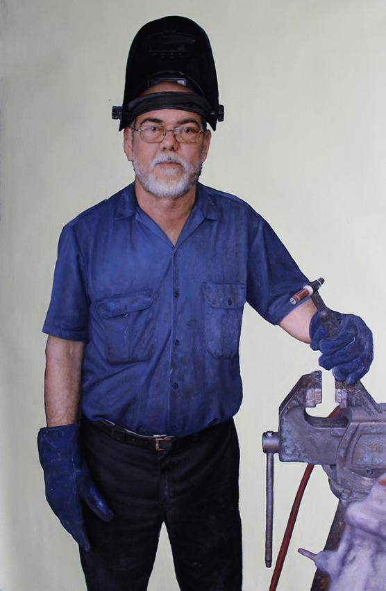 Welder. 63 X 40 in, oil on linen