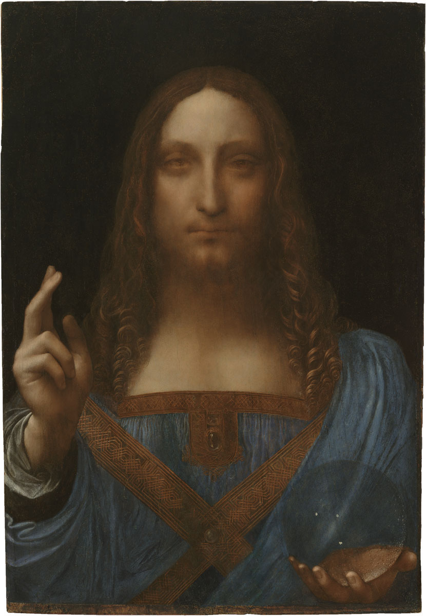 "Leonardo da Vinci (Italian, 1452-1519)         ""Salvator Mundi""  Oil on panel,   25 13/16 x 17 7/8 inches (65.6 x 45.4 cm)   Private Collection"