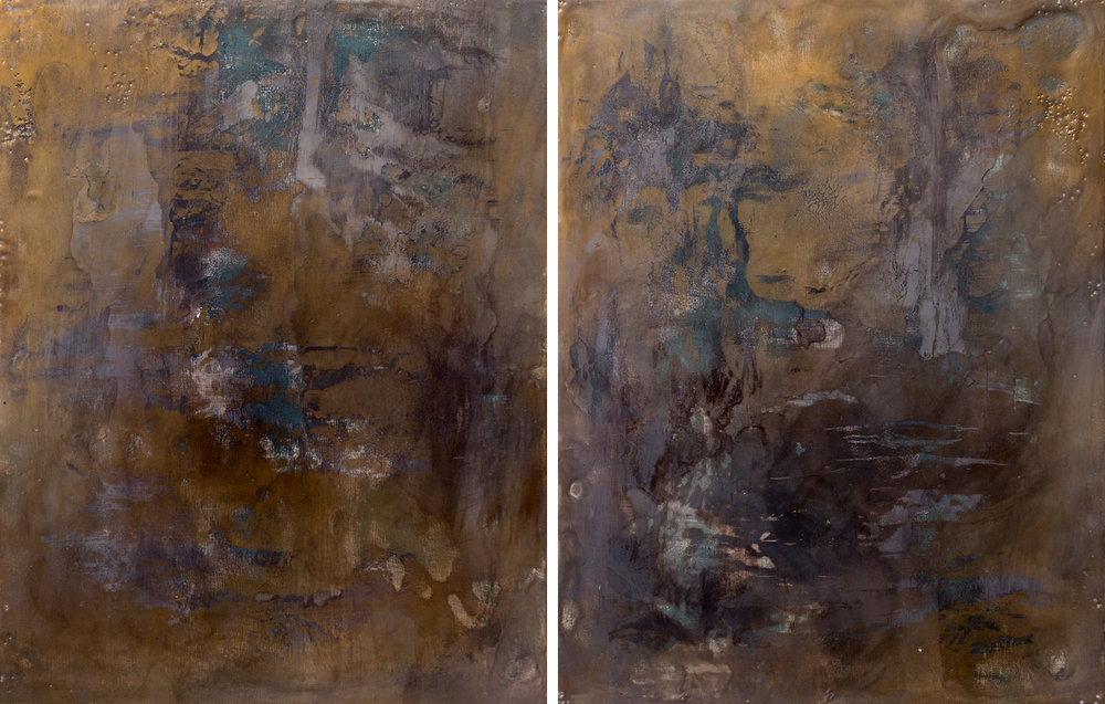 Stephanie Armbruster, Bifurcation II: Mission District, encaustic and metal patina on panel, diptych, 18 x 32, 2014