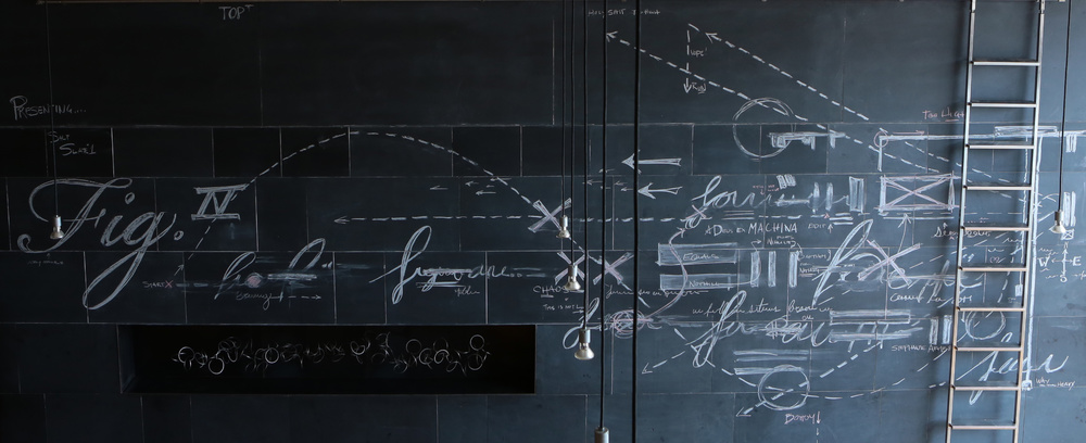 Stephanie Armbruster: Slate 1, 12' x 20,' chalk on slate