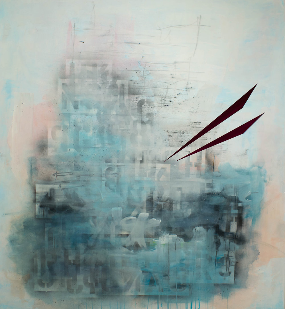 """Citadel of the West, encaustic on panel,48"""" x 44"""", 2017"""
