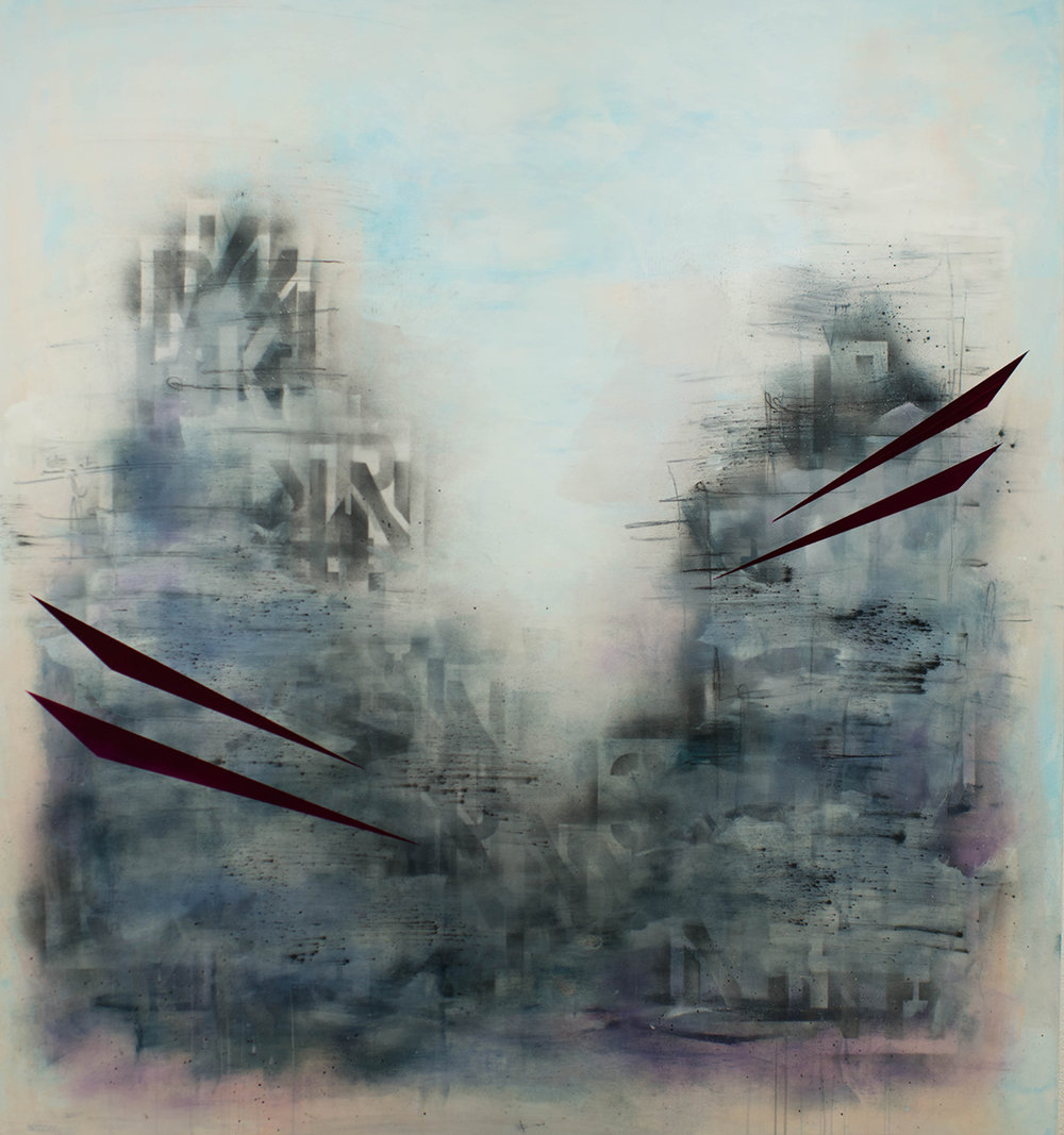 "Citadel of the East, encaustic on panel, 48"" x 44"", 2017"
