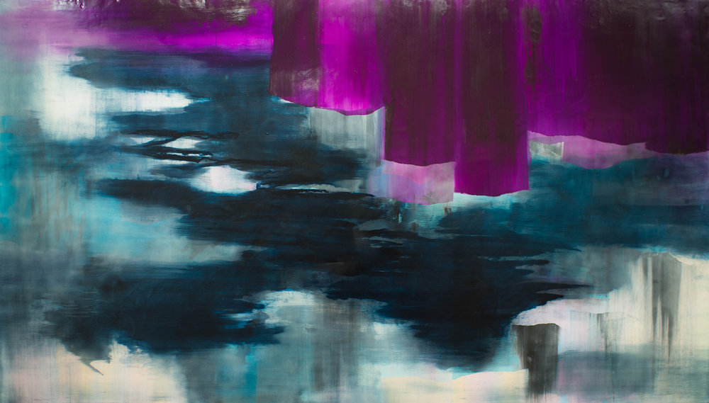 """What Night to do with Sleep, encaustic on panel, 48"""" x 84"""", 2017"""