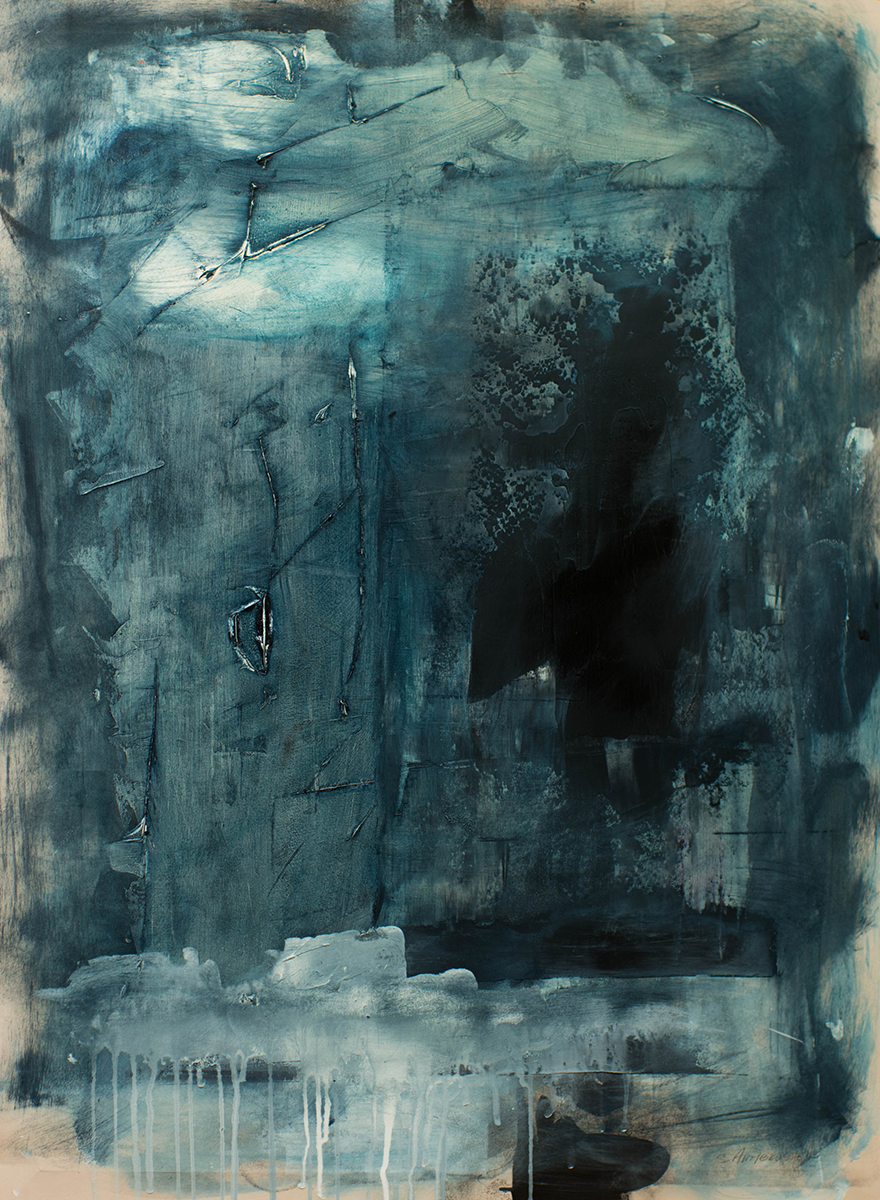 """Storms Above and Storms Below, 31"""" x 23"""", oil and cold wax on paper, 2017"""