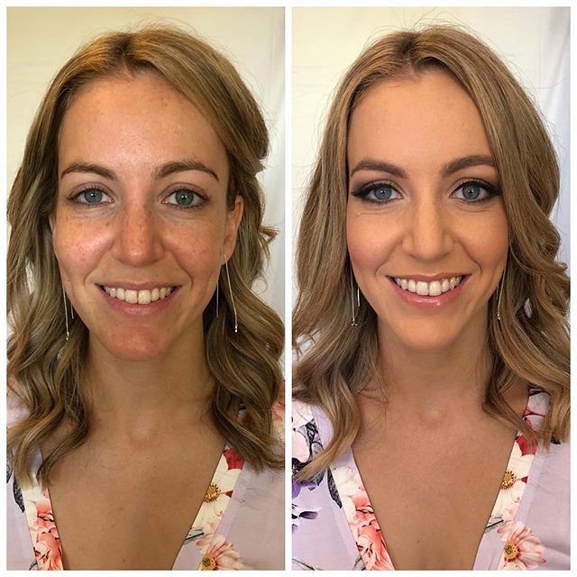 bridesmaid before & after • makeup by @roseee_makeup •• hair by @chloegrace.hmu