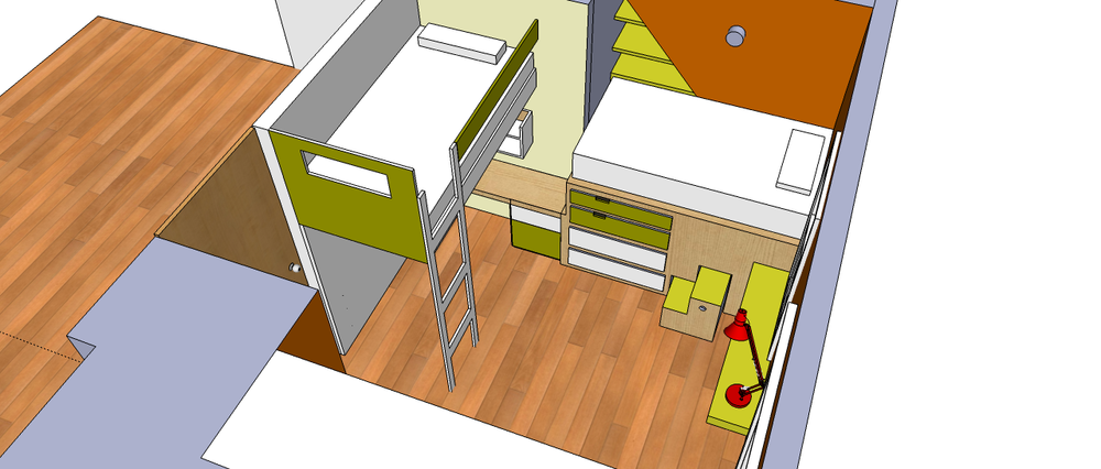 3d rendering of a corner unit