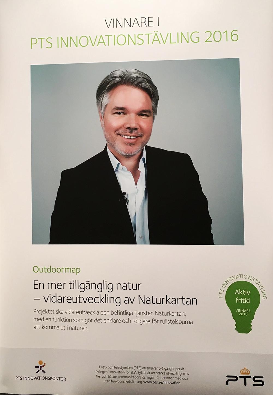 """Emil Hellström, medgrundare av Naturkartan, stolt mottagare av priset i PTS Innovationstävling """"Aktiv fritid""""."""