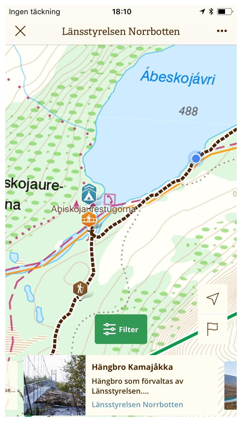 GPS:en visade vägen - Med naturkartans GPS och Norrbottens suveräna leddata var det inga problem att hitta vägen till Abiskojaurestugorna med alla dess faciliteter.