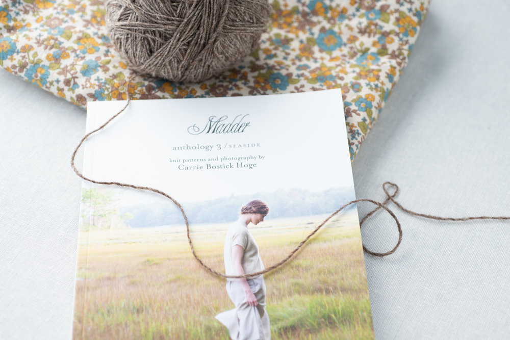 """The third and final book of the   Anthology   series,  Seaside , includes 16 knit patterns: 11 sweaters and 5 accessories. Seaside is a dreamy collection of knitwear photographed on the incredible coast of Maine. For this third collection, I set out to complement my first two books by including a bit of texture, cables, and colorwork while staying true to Madder's signature wearable style.  Patterns included: Winter Escape Pullover, Sea Sand Cardigan, Always + Forever Pullover, Cloudy Day Cardi (Light), Cloudy Day Cardi, Inlet Vest, Campfire Cardigan, Fleur Pullover, Fleur Cardigan, Preserve Pullover, Autumn Shoreline Vest, Caroline Cap, Liesl Scarf, Fleur Cowl, Seaside Wrap, and Seaside Shawl.  Book measures 7.5"""" x 9.75"""", 112 pages, perfect bound.  Hope you enjoy this collection!  xo c"""