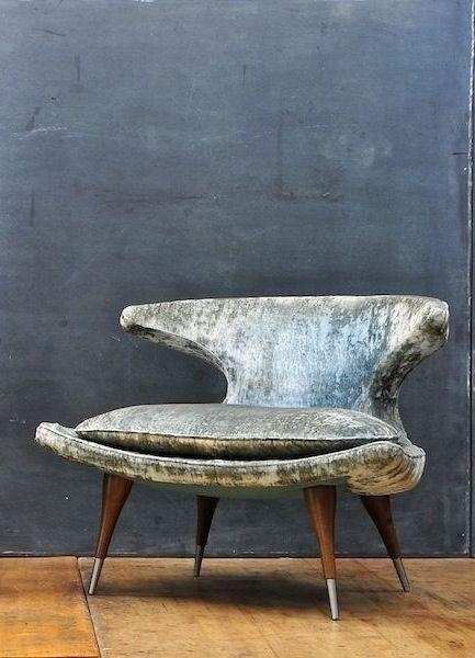 50's Vintage velvet horn lounge chair /Chaisevelourscorne - d'époque 50's