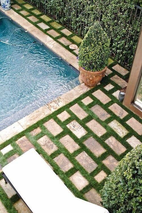 Garden Paver Stone Poolside Design