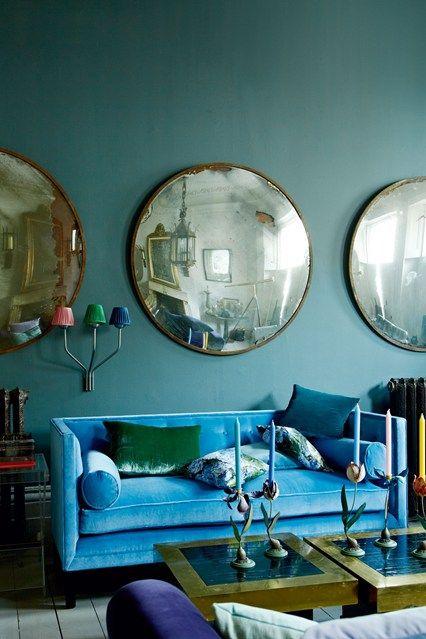 Blue & Jewel Tone Colour Scheme - Living Room Design Ideas & Pictures