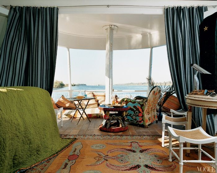 Christian Louboutin's boat on the river Nile. Source Vogue_Bessarabian rug