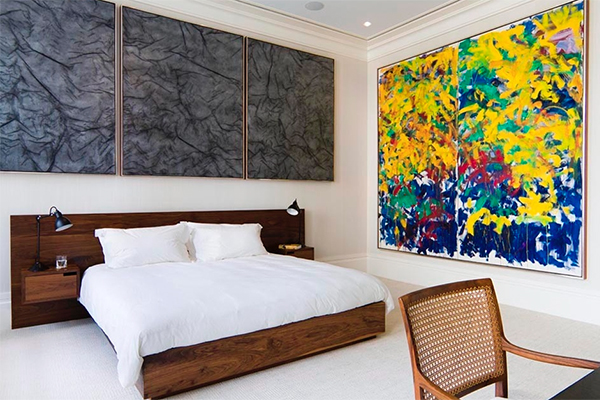 Design duo Ashe + Leandro hung paintings by Rudolf Stingel and Joan Mitchell in the New York City bedroom