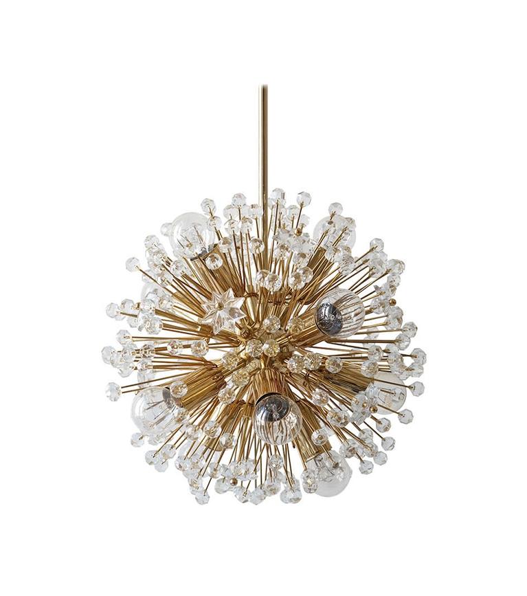 Viennese snowflake blowball Sputnik chandelier - 1970's