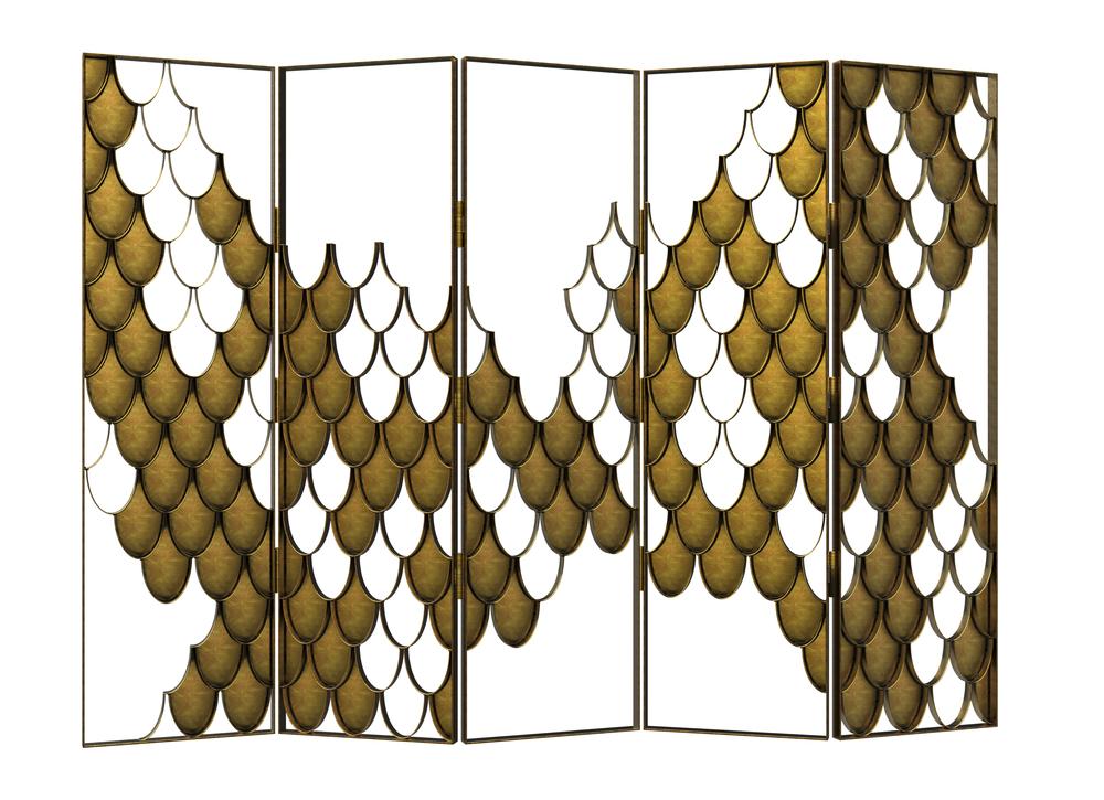Koi [[folding screen brushed aged brass///paravent en laiton vieilli brossé]]