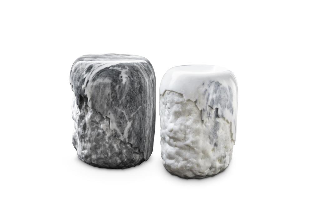 Yoho [[Carrara marble stool///tabouret en marbe de Carrare]]
