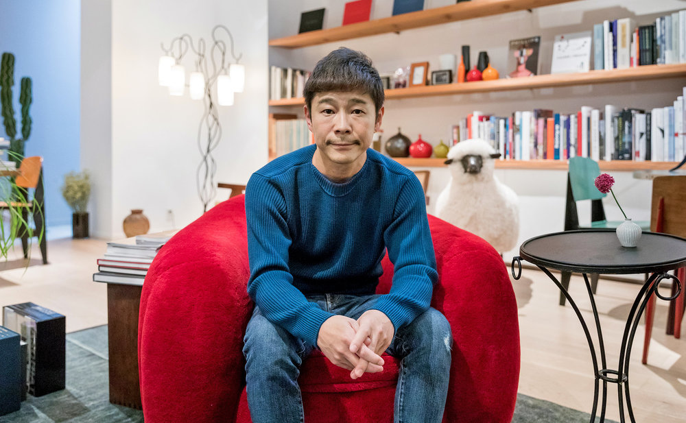The Japanese billionaire Yusaku Maezawa in his Tokyo home.  Credit Jeremie Souteyrat for The New York Times