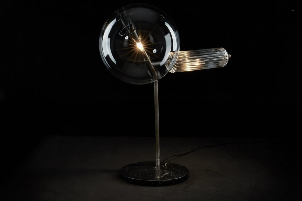 T-Double Silver Table Lamp by SIlvioMondinoStudio for Galerie SORS.