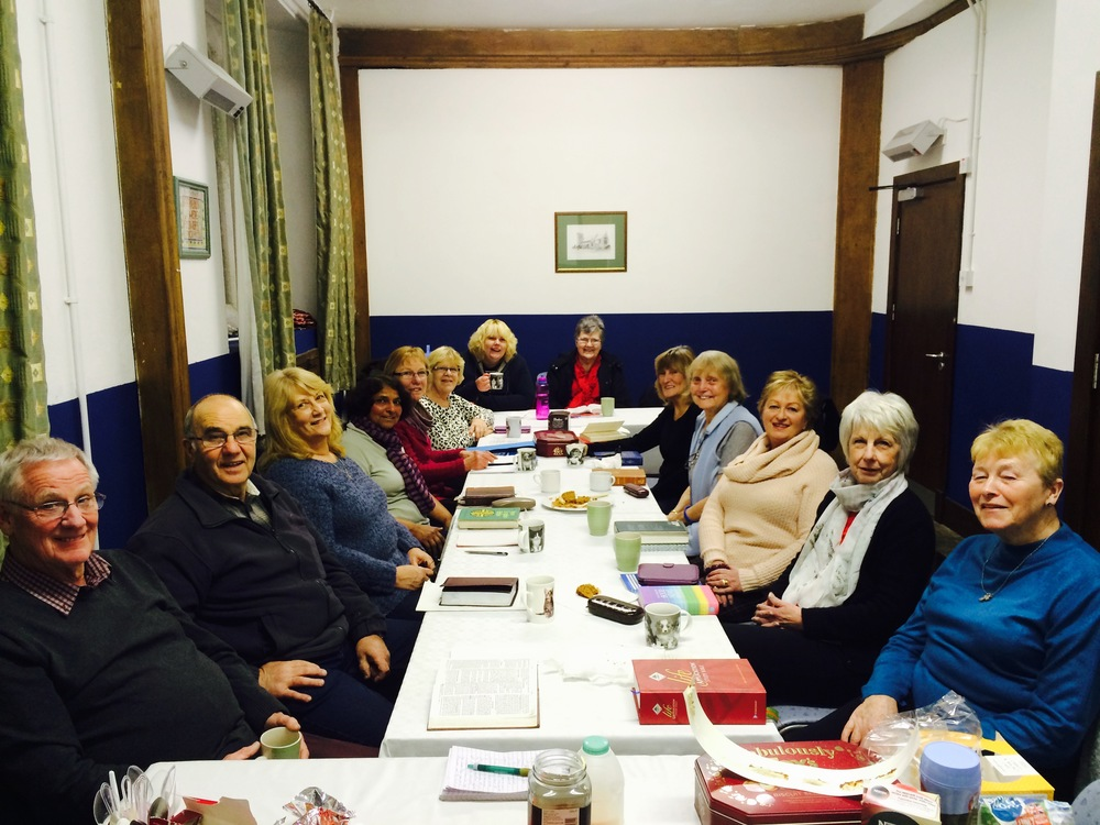 Our Bible Study Group meeting on a Wednesday evening in the Church Hall.