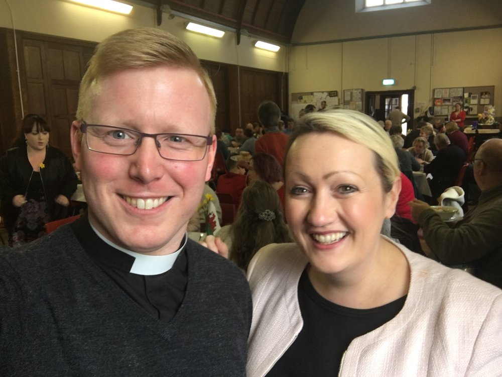 Rebecca Evans AM and our Curate, Rev Dr Adrian Morgan, at the Gorseinon Community Meal held at St Catherine's Church (2 March 2017).