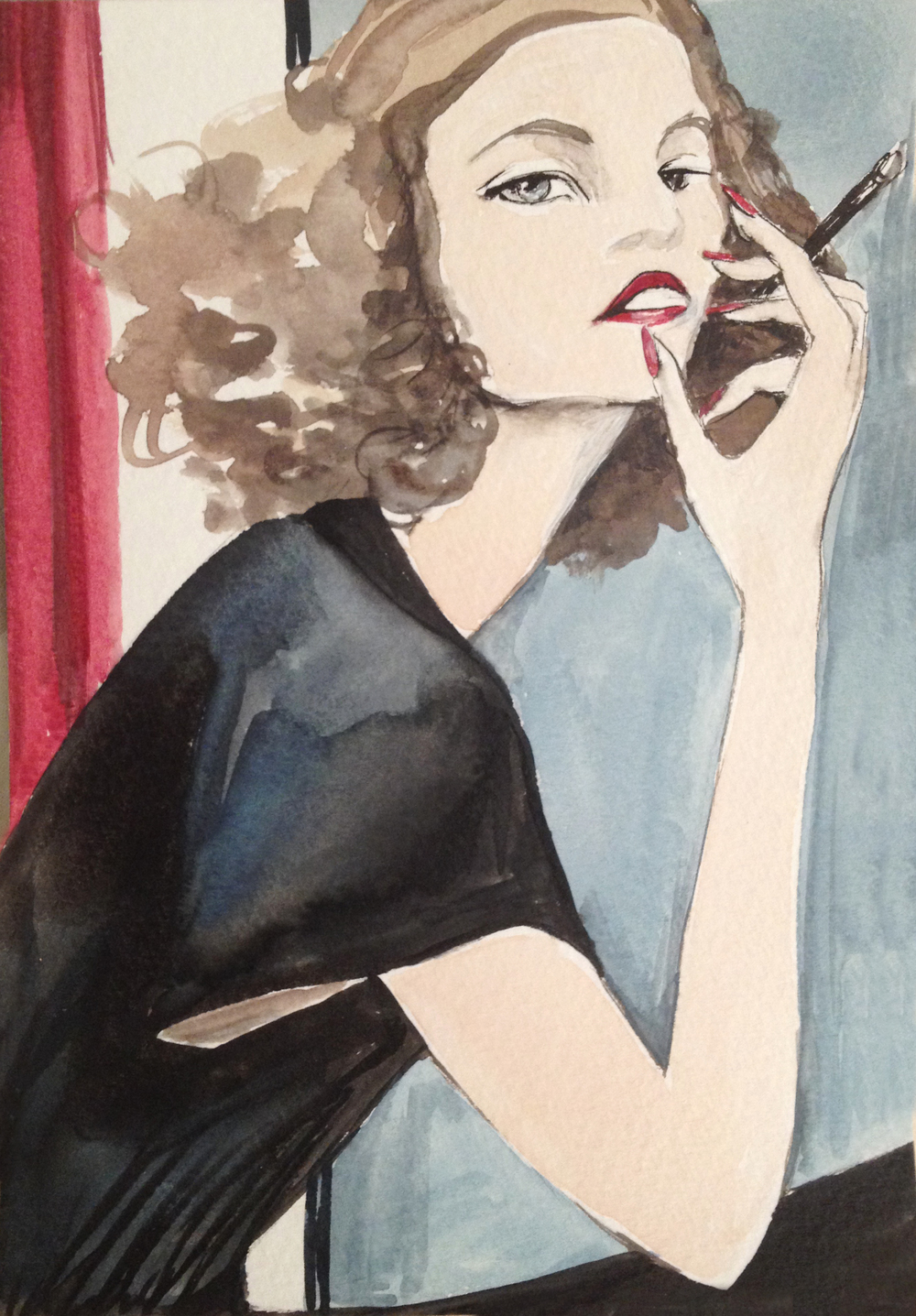 "1930's Katharine Hepburn in Eric's style - Watercolor 5""x7"""