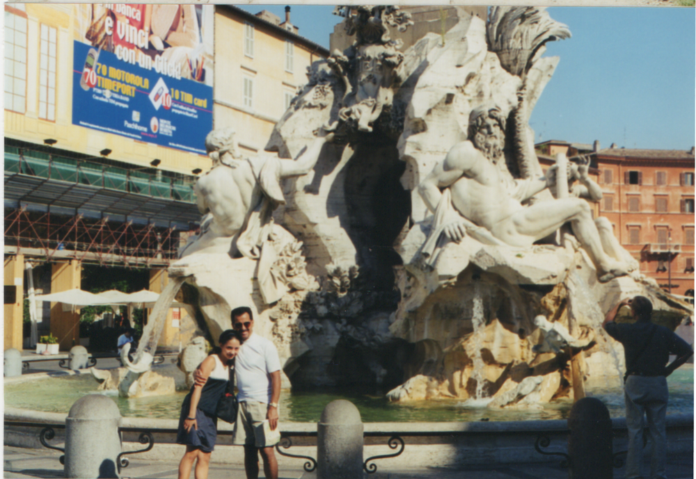 In front of Bernini's amazing Quattro Fiumi Fountain summer 2000