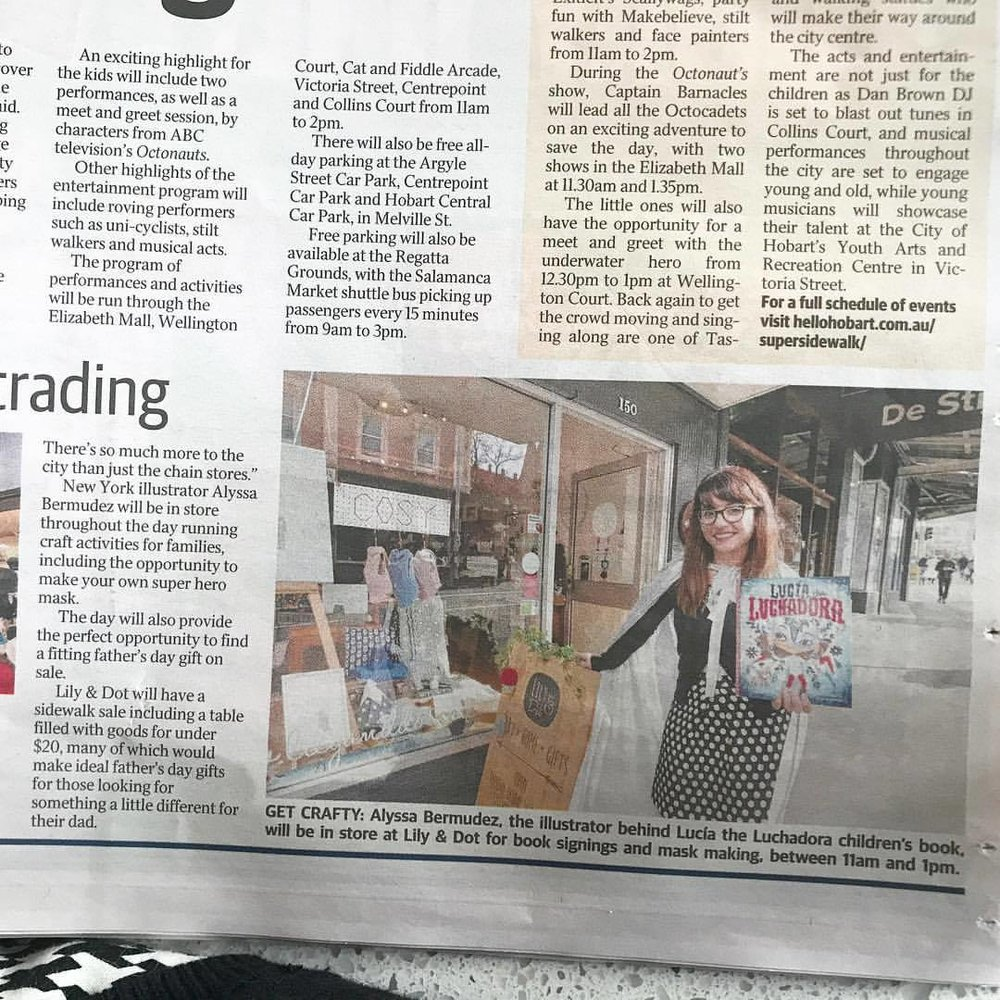 Excited to be in Tasmania's newspaper, The Mercury, promoting my book event at Lily & Dot.