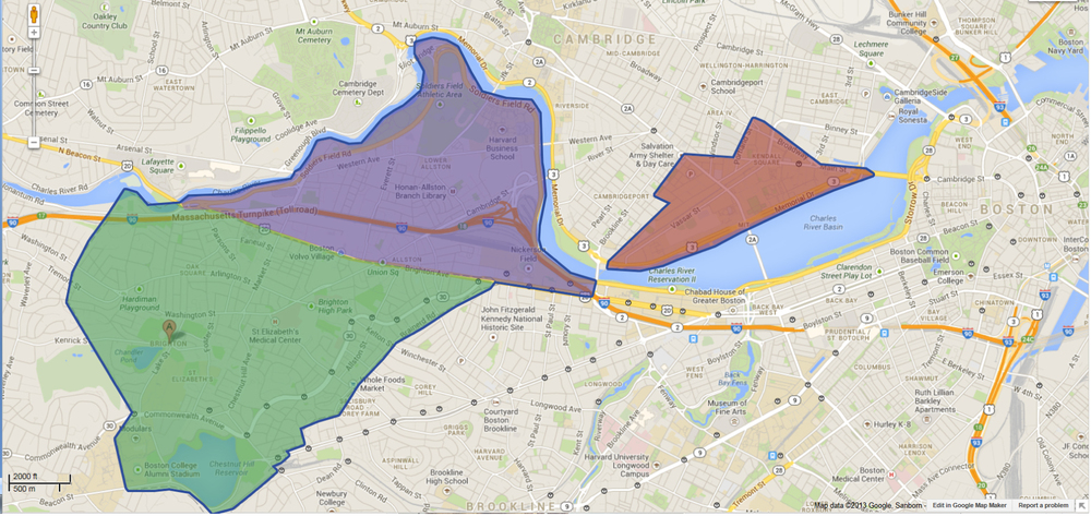 Map showing Allston-Brighton and Kendall Square/MIT