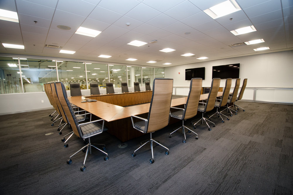 State-of-the-art audio-visual systems in the board room enable content to be displayed from a variety of devices, with easy-to-use wall-mounted and tabletop controllers.
