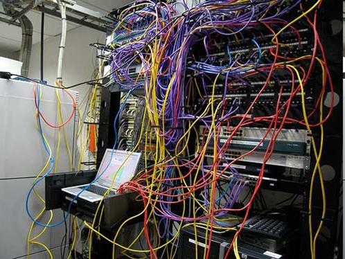 messy telecom room