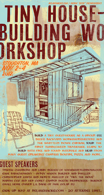 TINY HOUSE POSTER small home building workshop cabins forts
