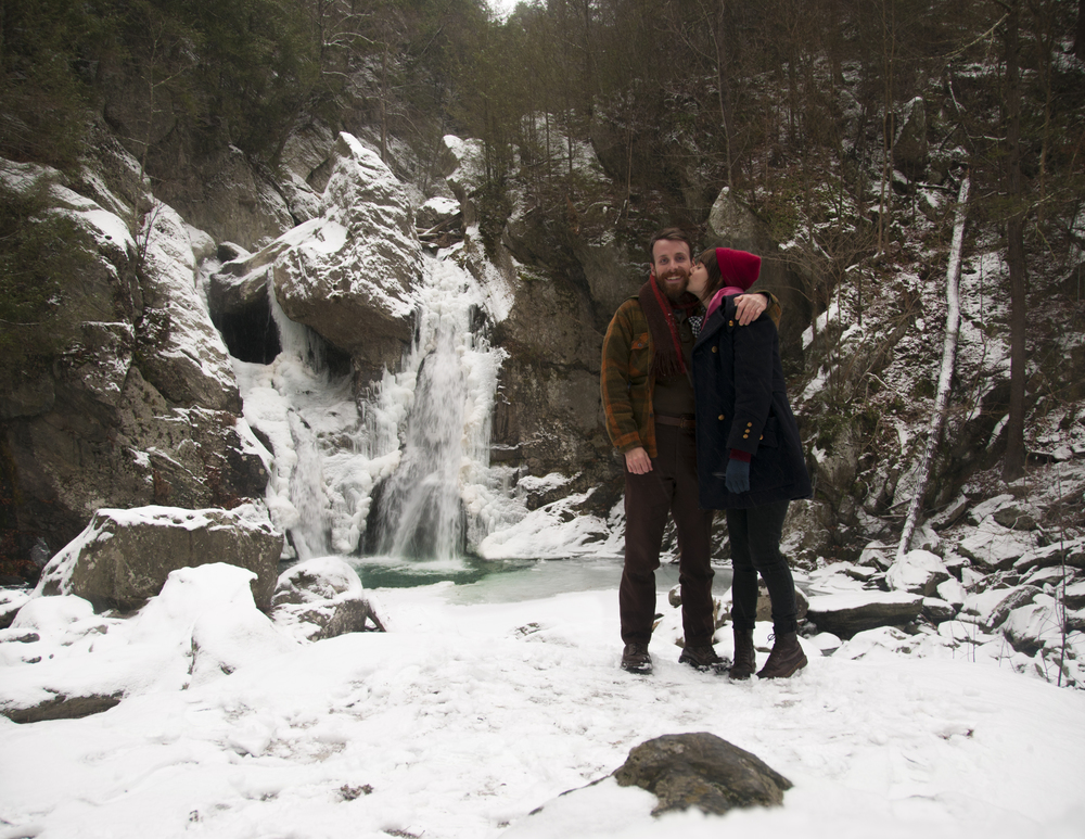 "For my birthday, Matt took me to the largest waterfall in Massachusetts. We hiked to it in the falling snow and it was beautiful! It's called ""Bash Bish Falls"" named after a ghost woman who told her daughter to kill herself by jumping from the top. Pretty neat!"