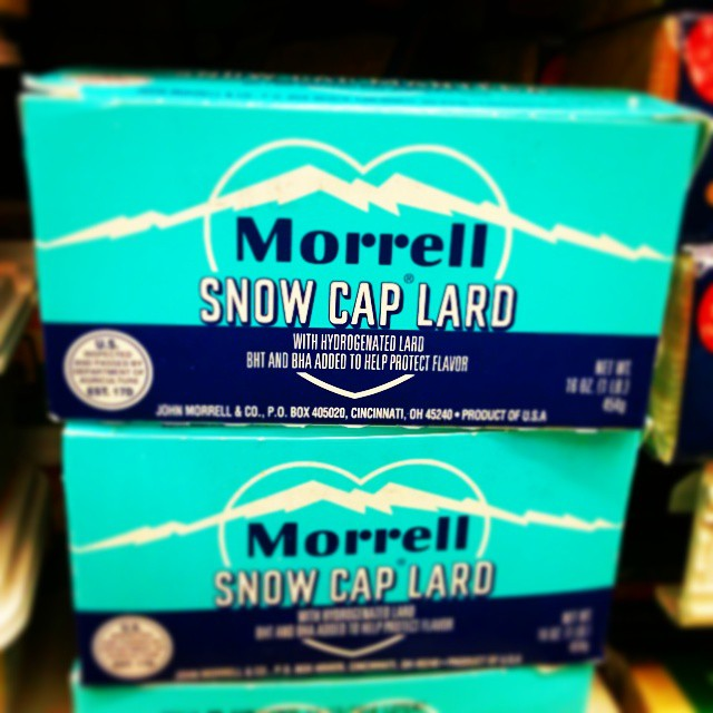 I love this packaging! If only I had a need to buy #lard. #morrell #packaging #design #graphic #color #turquoise #vintage #retro #snowcaplard