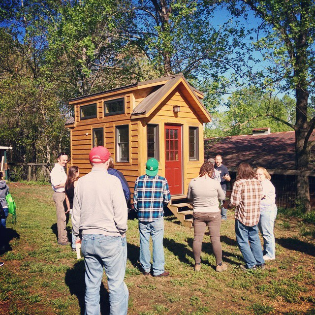 Day 1 of the Tiny Home Builders hands-on tiny house #workshop - checking out a #tinyhouse on site. Matt and I will be giving a talk about off-grid systems and sustainable building after lunch. The #honda #Element always ends up being the darling of the weekend, people are more interested in our #vanlife in the vehicle than the camper! #tiny #tinyhomes #tinyhousemovement #tinyliving #build #tinyhouseworkshop #vintagecamper
