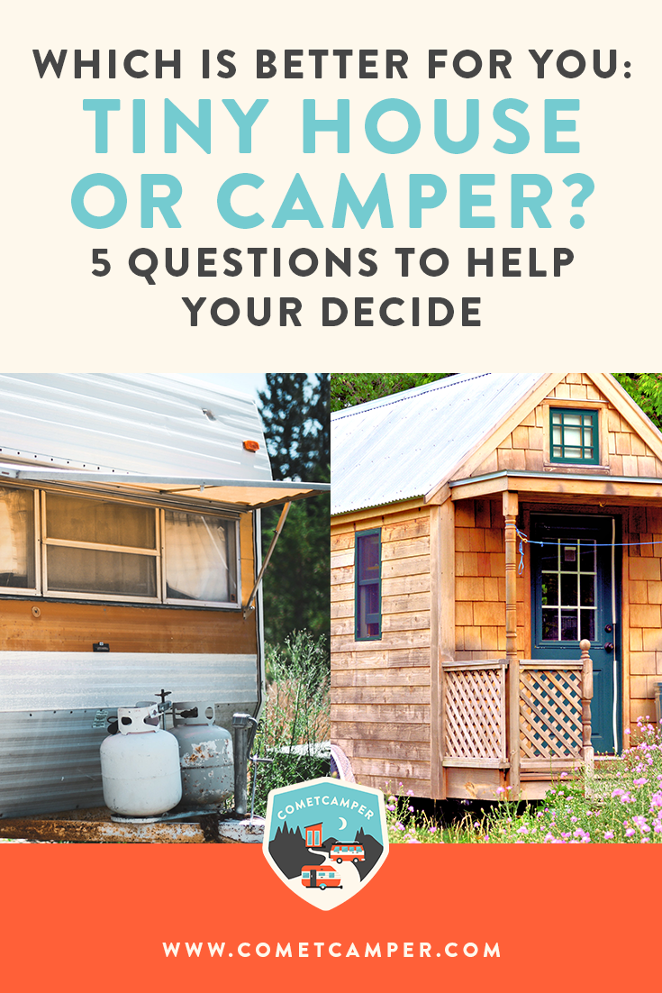 Should you live minimally in a tiny house or a camper? These five questions are going to help you decide which is best for you and your lifestyle.
