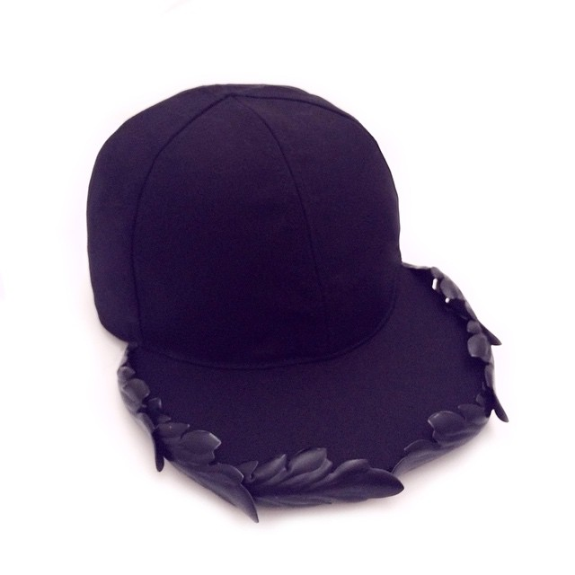 New baseball cap with iron leaves on the front ...#francescoballestrazzi #millinery #hatspiration #fashion #style #stylish #love #me #cute #photooftheday  #beauty #beautiful #instagood #design #iron #leaves #black #baseball #cap