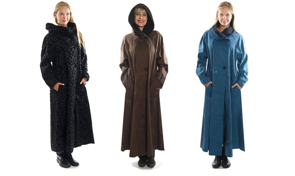 Mycra Pac Long Length Raincoats in Scroll, Bronze and Sapphire