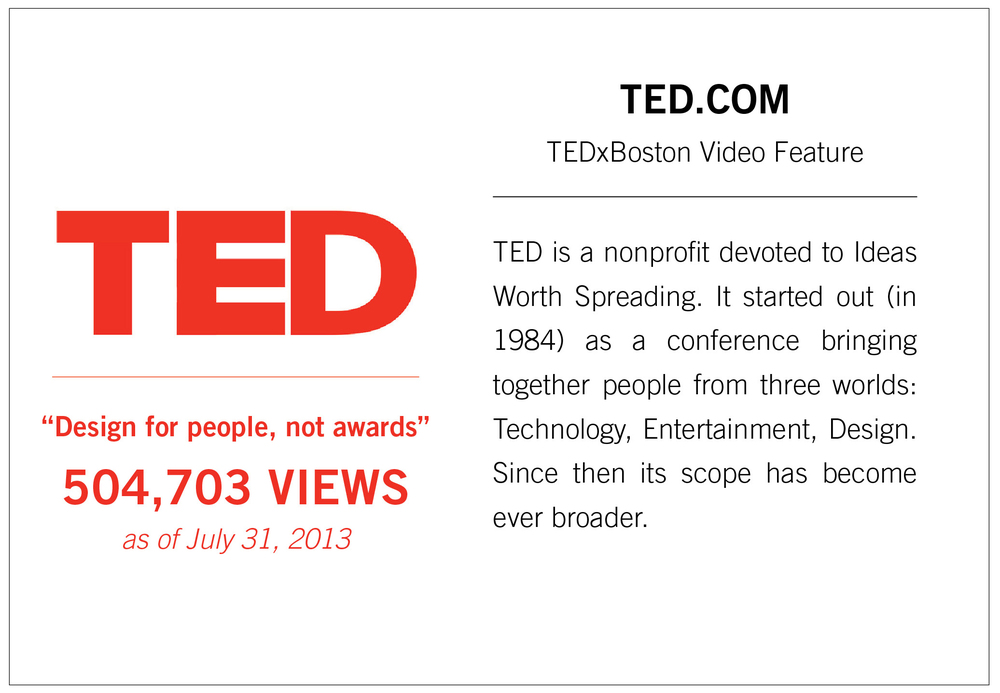 TED is a nonprofit devoted to Ideas Worth Spreading. It started out (in 1984) as a conference bringing together people from three worlds: Technology, Entertainment, Design. Since then its scope has become ever broader.